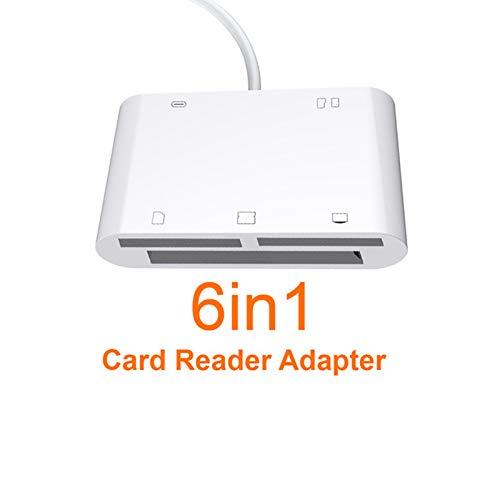 JIANG 6In1 SD TF SDHC CF XD M2 Kartenleser Ladeadapter für iPhone XS MAX XR 3In1 SD TF CF Kartenschreiber für iPhone X 5S 6 7 8 Plus - Für Kamera Xd Karte Speicher