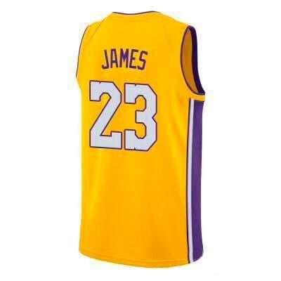 VICTOREM Lebron James, Maillot De Basket-Ball, Lakers, Édition Classique, Nouveau Tissu Brodé (Yellow, S)