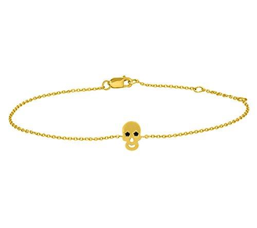 Or Jaune 9 ct Bracelet Diamant en forme de crâne, 0.04 Ct Diamant, GH-SI, 1.82 grammes.