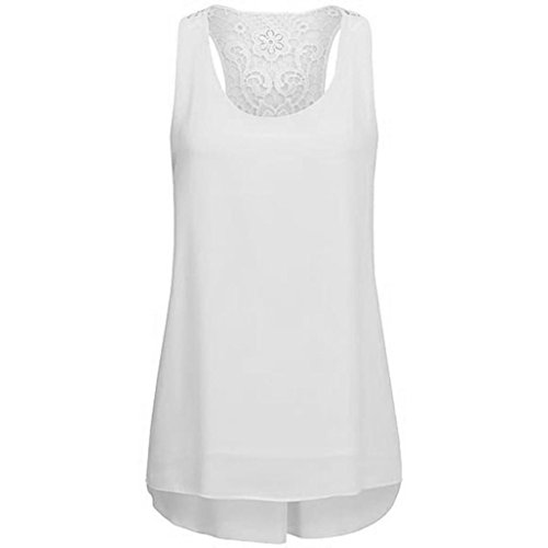 MRULIC 2019 Damen Rundhals Falten T-Shirt Ärmellos Stretch Tunika Top(Z-X-Weiß,EU-44/CN-2XL)