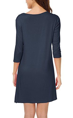 Damen 3/4 Ärmeln T-Shirt Kleid Lose Taschen Stretch Basic Kleider Marinenblau