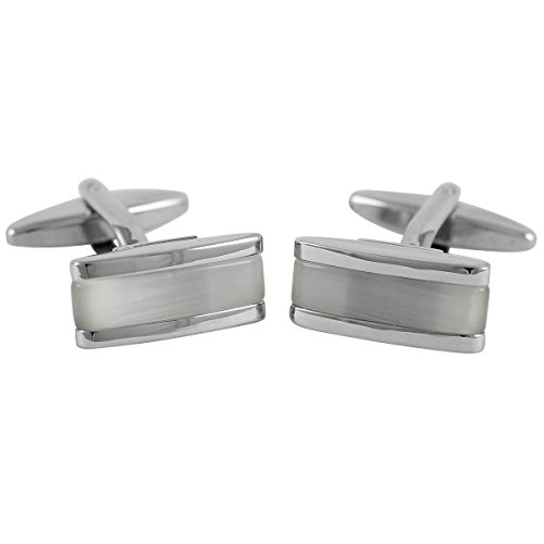 Lindenmann Cufflinks/Cuff Buttons, Silvery with Cats-Eye White, Gift Box, 10026
