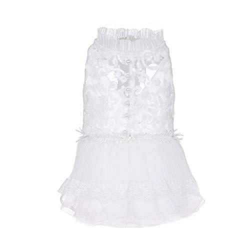 Smniao Hundebekleidung Mädchen Sommer Haustier Kostüm Kleid Blume Spitze Rock und Hülse Klein Hund Chihuahua T-Shirt Weiß (M, Weiß)