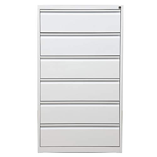 Certeo Karteischrank | 6 Schubladen | HxBxT 132 x 76 x 62 cm | Weiß | Karteikartenschrank Aktenschrank Büroschrank Ordnungssystem Karteiordnung