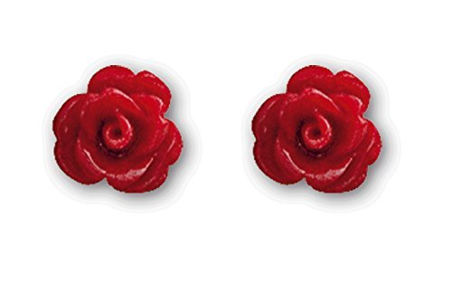 Echt etNox - Orecchini a perno a forma di rosa rossa, montatura in argento Sterling