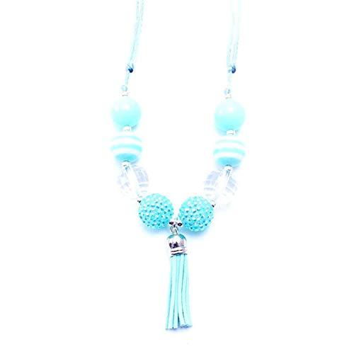 AISHIPING Handmade Kids Bubblegum Quaste Halskette Einstellbare Seil Schmuck Mint Green Perlen Halskette