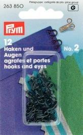PRYM 2Augen Haken und Messing, 12Stück, schwarz (Haken Und Auge)