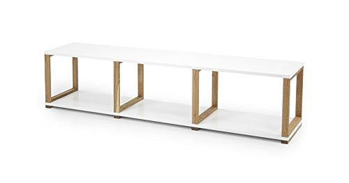 Tenzo 2331-001 ART Designer Etagère/Séparation de pièce Panneaux de particules/Chêne massif Blanc/Chêne 178 x 36 x 42 cm