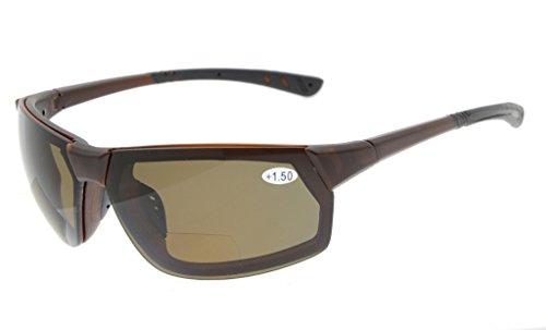 Eyekepper TR90 Unbreakable Sport Bifocal Sonnenbrillen Baseball Laufen Angeln Fahren Golf Softball Wandern Brown Frame Brown Lens +2.5