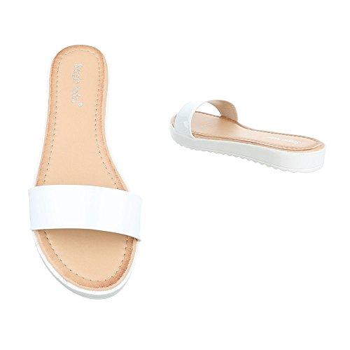 Pantoletten Damenschuhe Jazz & Modern Leichte Ital-Design Sandalen / Sandaletten Weiß T165