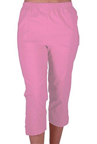 Cora Damen Stretch Capri Crop Shorts Capri-Hose Pants der Frauen 3/4 Dreiviertelhose Pink Gr. 42 (Stretch-capri-hosen Rosa)