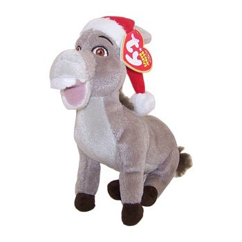 TY Beanie Baby - DONKEY (Shrek DVD Exclusive - with Santa Hat) (7 inch) by Beanie Babies -