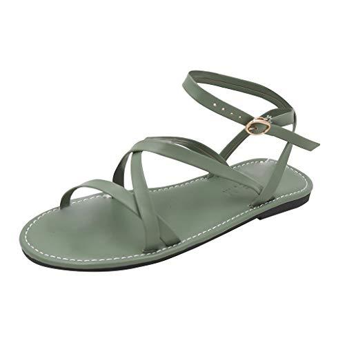 Mode Frauen Soft Comfort Outdoor Schuhe,Riemchensandalen Casual,Sommerschuhe Weichen Komfort solide Rom Open Toe Sandalen URIBAKY