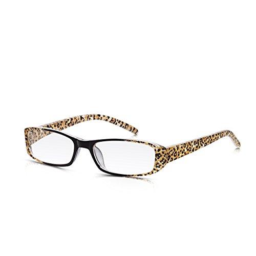 Read Optics Lesebrille für Damen: Schlanke Vollrand-Brille mit Leoparden-Musterung und Schwarzen Bügeln. Aus strapazierfähigem, leichtem Polykarbonat mit rechteckigen Qualitäts-Gläsern in Stärke +3,5 Schlanke Bügel