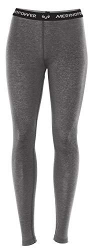 MERINO POWER Merinopower Damen Leggins - Unterwäsche aus reiner Merinowolle, Grau Meliert, XS