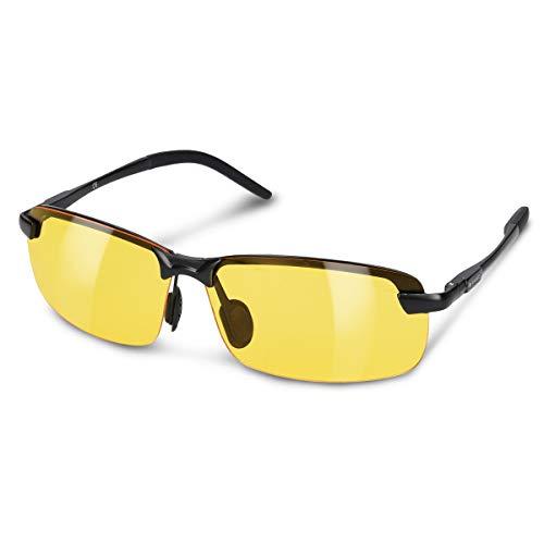 Navaris Nachtsichtbrille zum Autofahren - Nacht Brille für Herren und Damen - polarisiert UV400 Gelbfilter - gelbe Gläser ohne Sehstärke
