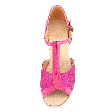 Die stilvollen XIAMUO Kid/Frauen Sekt Glitzer T-Strap Latin/Ballroom Dance Schuhe (weitere Farben) Silber