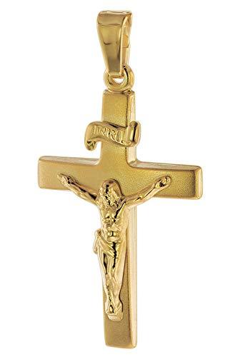 trendor Anhänger Kruzifix 24 mm Gold 750/18 Karat Damen und Herren Anhänger Gold, Kreuzanhänger Echtgold, Geschenkidee, eleganter Schmuck aus Gold 75551