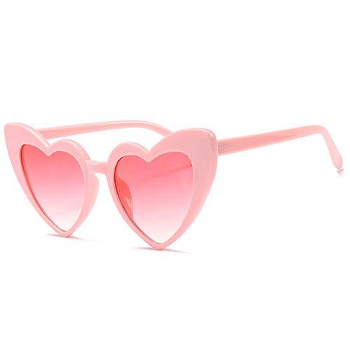 DAIYSNAFDN Herzförmige Sonnenbrille Frauen Cat Eye Sonnenbrille Damen Vintage Rosa Schwarz Eyewear C4All Pink