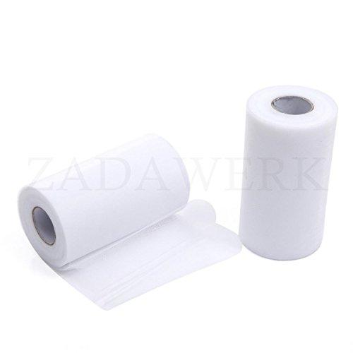 ZADAWERK® Tüll - 15 cm x 45 m - Weiß - 1 Rolle - Tisch-Deko - Hochzeit (Einfache Schnelle Halloween-kostüme Ideen)
