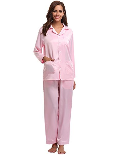 Damen Pyjama Schlafanzug Rundhals Nachtwäsche langarm V-Kragen Hellrosa L 44//46