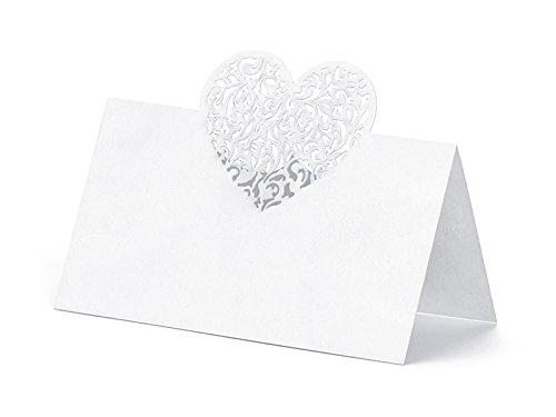 Like a Girl - wir lieben Hochzeiten 10 Laser-Cut Herz Weiss mit perlglanz, Tischkarten, Platzkarten, Namenskärtchen