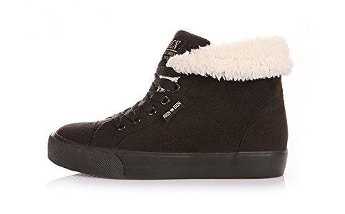 Minetom Donna Lace Up Neve Stivali Autunno Inverno Calzature Female Moda Flats Scarpe Cavaliere Stivaletti Nero