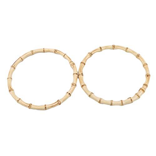 LIGHTBLUE Hellblau 2 Stück Bambus Holz Handtasche runde Form Handtasche Griffe für handgemachte DIY Tote Geldbörse Rahmen Machen Tasche Kleiderbügel, helle Farbe -
