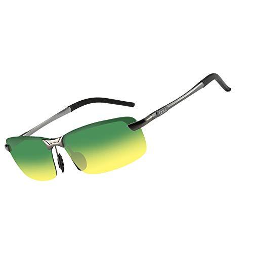 LZXC Herren Polarisierte Sonnenbrille, Tag und Nacht Autofahren Brille, Metallischer Grauer Rahmen mit Tag-Nachtsicht Linse -