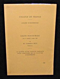 La quête d'une langue parfaite dans l'histoire de la culture européenne : leçon inaugurale faite le vendredi 2 octobre 1992