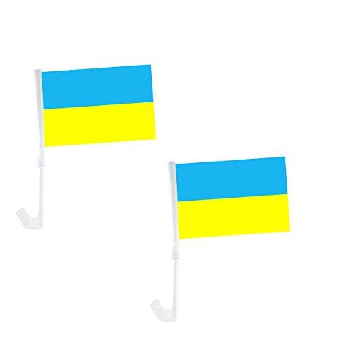 Sonia Originelli 2er Set Auto Flagge Fahne WM Länder Fußball Fan Farbe Ukraine
