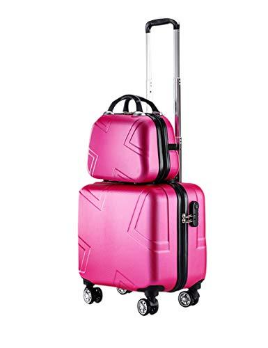 Trolley Gepäck Rolling Boarding Koffer - Dauerhaft Kofferraum Mit Kosmetiktasche 2 Stück Eingestellt Anti-Druck Wasserdicht Reise Geschäft Schule Rosa