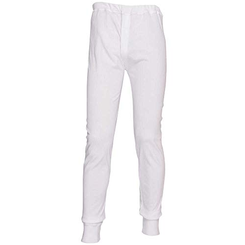 Layer Long Johns (Portwest Mens Workwear Thermal Long Johns Base Layer Pants Trousers Navy, White)