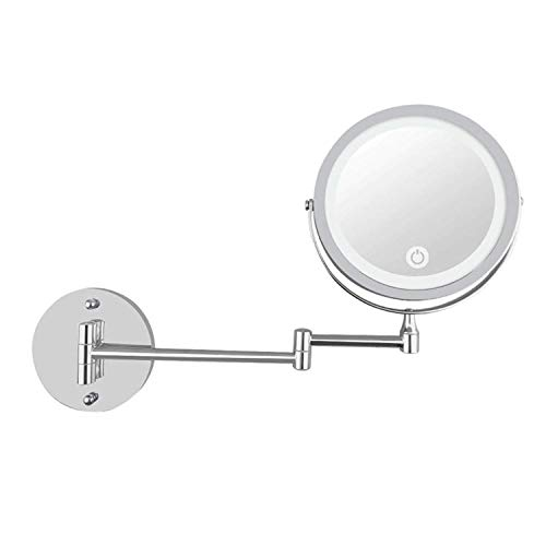 LULUDP Badspiegel Wand- Schminkspiegel Wand-LED beleuchtete Make-up Spiegel Vanity 7 Zoll 10X Vergrößerungs Rasierspiegel mit Screen-Dimming (Color : Silver, Size : 7 inches 10X)