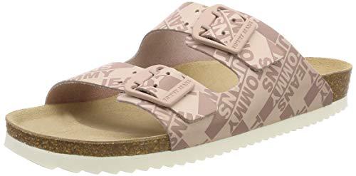 Hilfiger Denim Damen Allover Print Flat Sandal Zehentrenner, Pink (Lotus 662), 39 EU
