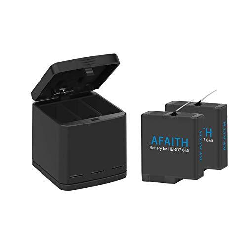 AFAITH Chargeur triple Chargeur Dock Chargeurs de batteries + Batteries 2 pcs pour GoPro Hero (2018) Hero 5 6 8 Hero7 Black, 3 canaux Boîte de rechange multifonction Chargeur pour batterie Organiseur