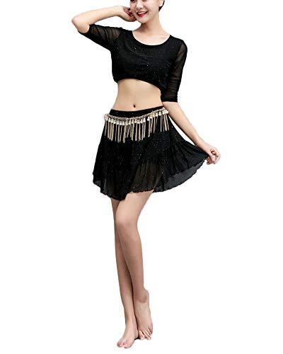 Damen Einfarbig Bauchtanz Performance Rock Anzug Oriental Arabian Belly Dance Kurzer Rock Anzug Schwarz - Tänzerin Orientale Kostüm