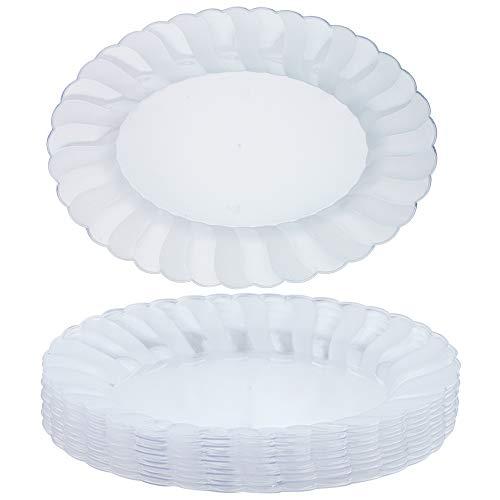 10 große Elegante Hartkristall-Kunststoff-Oval-Serviertabletts - Einweg- und Wiederverwendbare, klare Servierplatten, Serviertabletts - Perfekt für Partys, Funktionen, Buffets, Catering und mehr