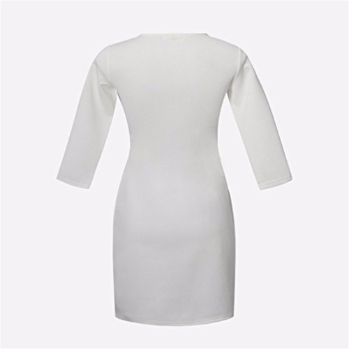 Bow manches longues Pocket coton col rond Robe Femmes Sexy Robes simples Blanc