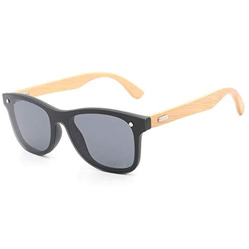 MWPO Quadratischer Rahmen aus Bambusholz, europäische und amerikanische Unisex-Reisnägel Brille mit Verbindungstür Polarisierte Gläser (Farbe: graue Linse)