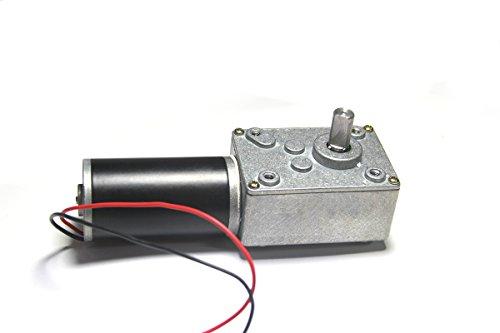 Lejin 24V 80 U/min 70N.cm selbsthemmend Schneckengetriebe Reversible Gleichstrom-Elektromotor 90° Winkelgetriebe getriebemotor elektromotor Hochbelastet industriemotor modellbau Gewicht von Motor 380g (Geringe Welle Boot)