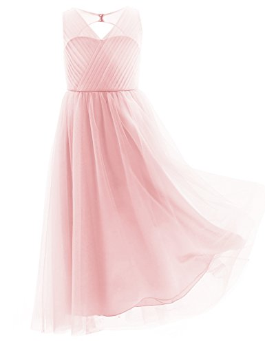 iiniim Enfant Fille Cérémonie Robe Longue sans Manches Mousseline Robe de Mariée Fille Robe Col V Elegant Brief D'été Robe 4-14 Ans (10 Ans, Rose)