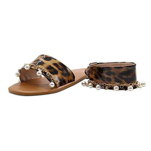 Masoness Frauen Neue Sexy Leopard Strass Perle Gürtel Knöchelriemen Schnalle Retro Outdoor Sandalen Einzelne Schuhe (Sexy Beanies)