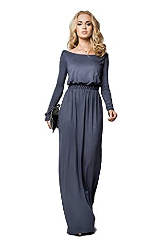 FUTURO FASHION - Robe - Taille empire - Manches Longues - Femme Vert Kaki - Gris - 46