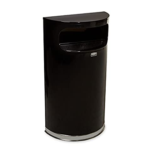 Rubbermaid Commercial 9 gal Stainless Steel Half Round European and Metallic Series Waste Receptacle - Black/Chrome