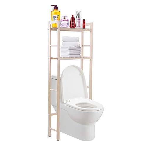 EBTOOLS 2-Tiers Holz Toilettenregal WC-Regal Badezimmer Regal Aufbewahrungsregal für Badezimmer, 50 * 20 * 133cm