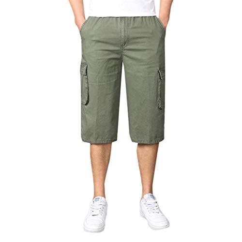 Ujunaor pantaloni capri uomo elegante larghi in cotone con coulisse tasche laterali trousers della di elastici casual maschi tinta unita casual moda xl-xxxxxxl(xxxxx-large,armygreen)