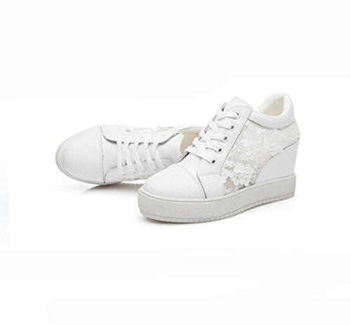 XTIAN , Chaussures à lacets femme Weiß,Hohl