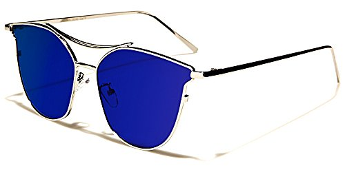 Giselle Sonnenbrillen Mode Modisch Fashion Strand Stadt Cat Eye Flat Lens/Sydney Blau Irisierend Spiegel