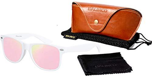 Balinco Hochwertige Polarisierte Nerd Rubber Sonnenbrille im Set (24 Modelle) Retro Vintage Unisex Brille mit Federscharnier (White-Rose Mirror)